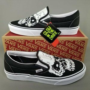 VANS Classic Slip On GitD Skull Skate Shoes 9